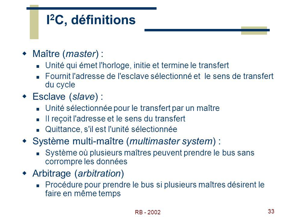 RB - 2002 33 I 2 C, définitions Maître (master) : Unité qui émet l'horloge, initie et termine le transfert Fournit l'adresse de l'esclave sélectionné