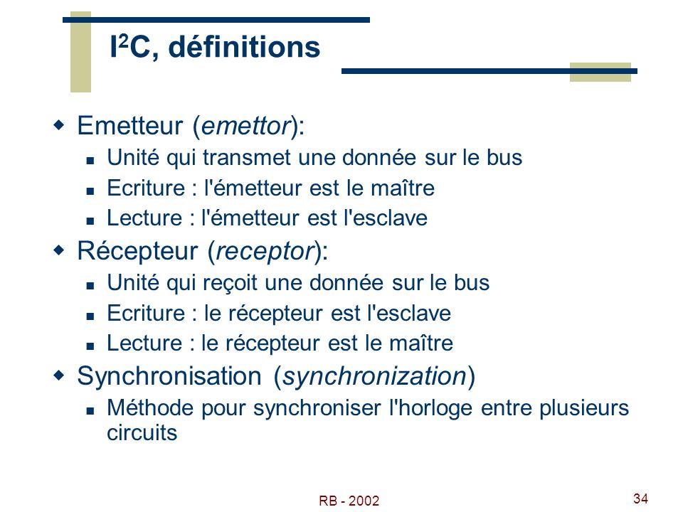 RB - 2002 34 I 2 C, définitions Emetteur (emettor): Unité qui transmet une donnée sur le bus Ecriture : l'émetteur est le maître Lecture : l'émetteur