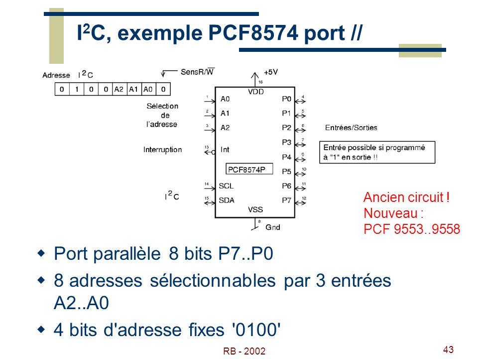 RB - 2002 43 I 2 C, exemple PCF8574 port // Port parallèle 8 bits P7..P0 8 adresses sélectionnables par 3 entrées A2..A0 4 bits d'adresse fixes '0100'