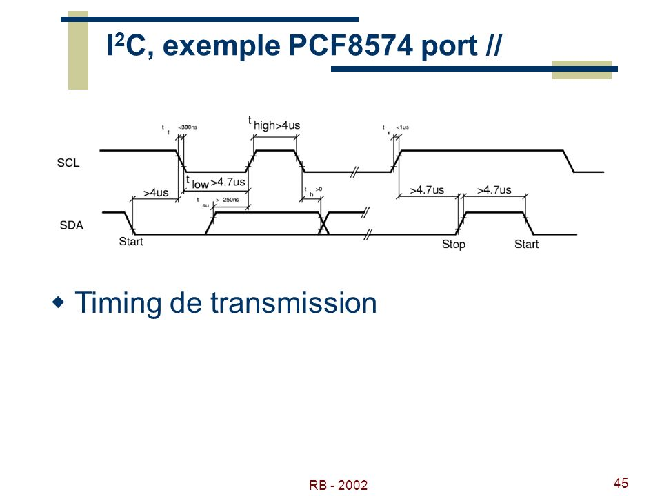 RB - 2002 45 I 2 C, exemple PCF8574 port // Timing de transmission