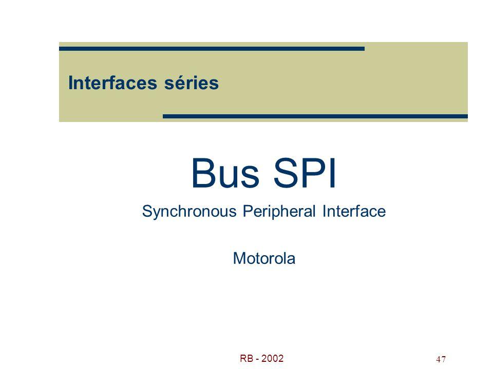 RB - 2002 47 Interfaces séries Bus SPI Synchronous Peripheral Interface Motorola