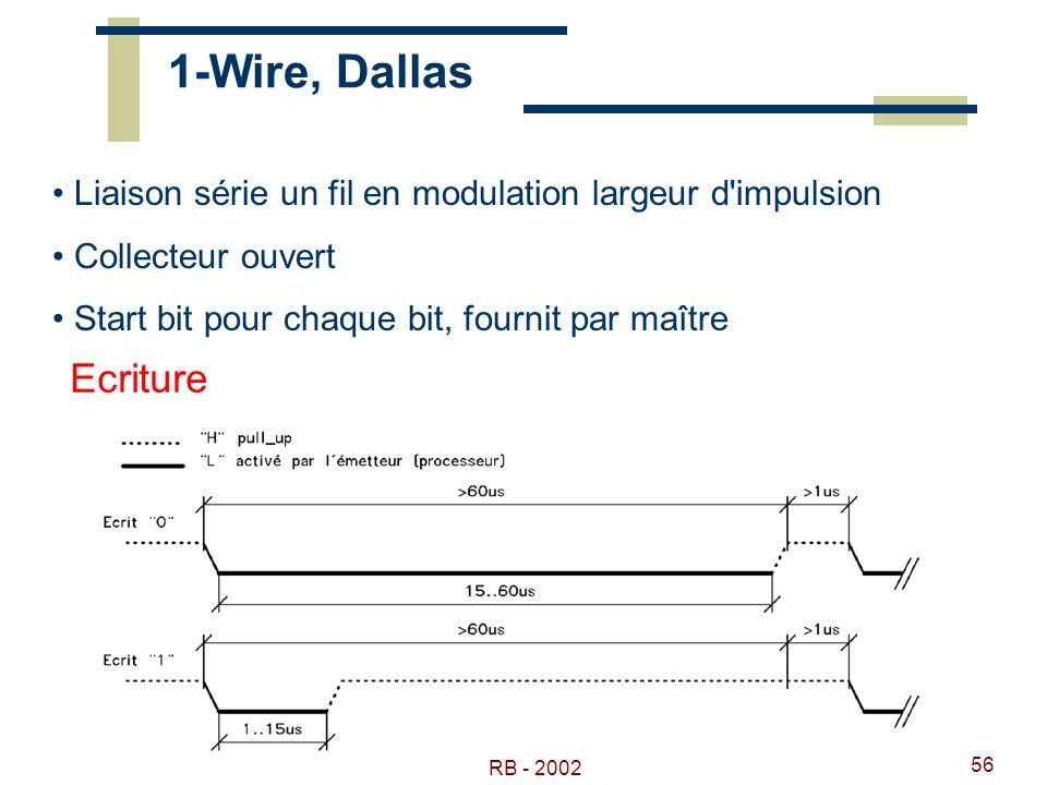 RB - 2002 56 1-Wire, Dallas Liaison série un fil en modulation largeur d'impulsion Collecteur ouvert Start bit pour chaque bit, fournit par maître Ecr