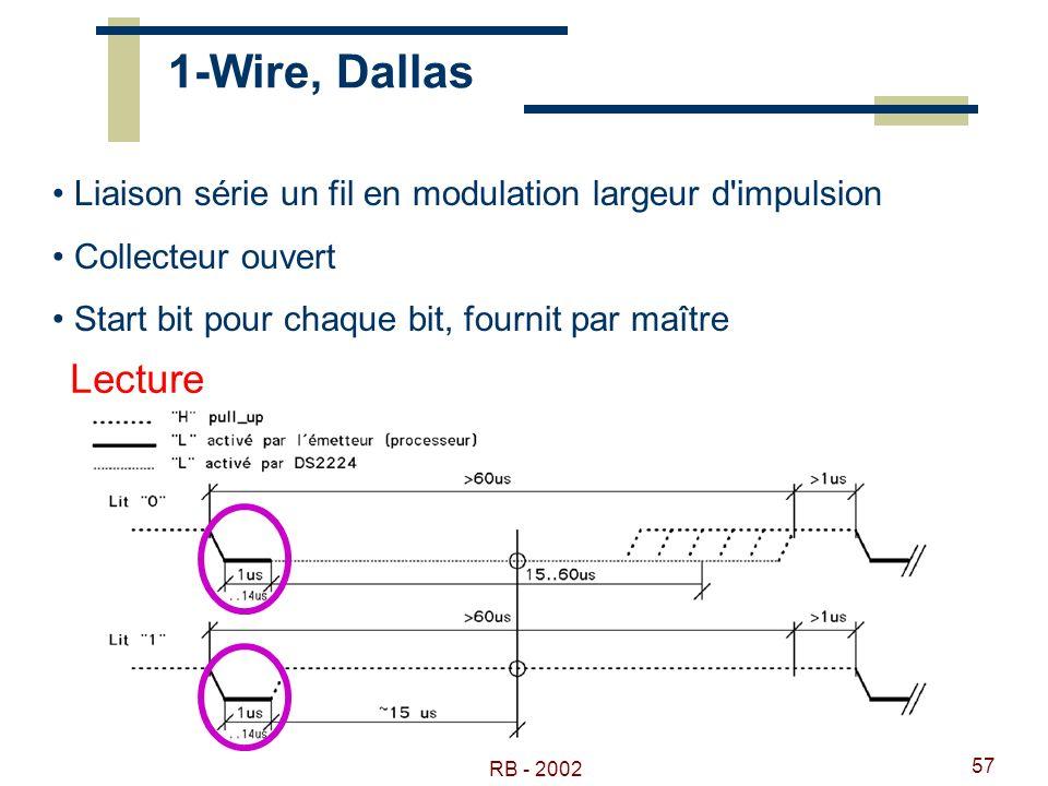 RB - 2002 57 1-Wire, Dallas Liaison série un fil en modulation largeur d'impulsion Collecteur ouvert Start bit pour chaque bit, fournit par maître Lec