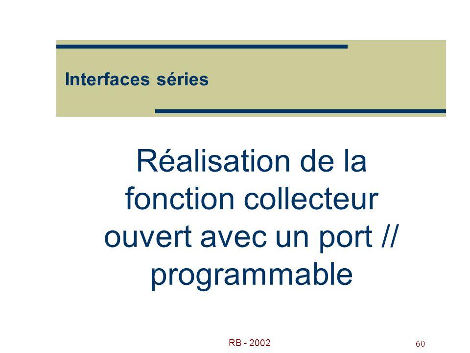 RB - 2002 60 Interfaces séries Réalisation de la fonction collecteur ouvert avec un port // programmable