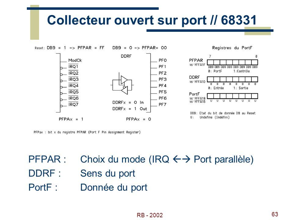 RB - 2002 63 Collecteur ouvert sur port // 68331 PFPAR : Choix du mode (IRQ Port parallèle) DDRF : Sens du port PortF :Donnée du port