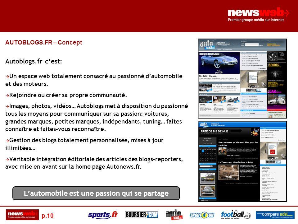 p.10 10 AUTOBLOGS.FR – Concept Autoblogs.fr cest: Un espace web totalement consacré au passionné dautomobile et des moteurs.