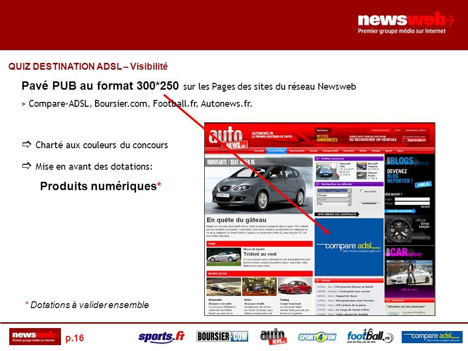 p.16 16 Pavé PUB au format 300*250 sur les Pages des sites du réseau Newsweb > Compare-ADSL, Boursier.com, Football.fr, Autonews.fr.