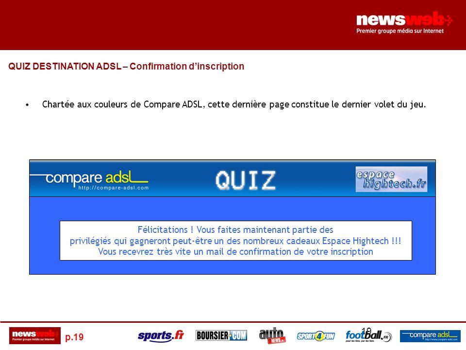 p.19 19 Chartée aux couleurs de Compare ADSL, cette dernière page constitue le dernier volet du jeu.