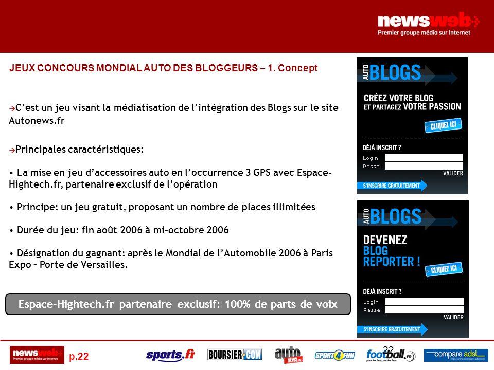 p.22 22 Concept JEUX CONCOURS MONDIAL AUTO DES BLOGGEURS – 1.