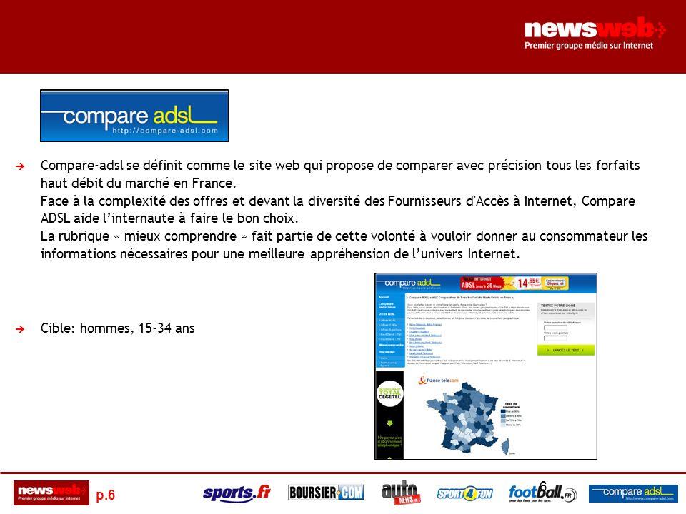 p.6 6 Compare-adsl se définit comme le site web qui propose de comparer avec précision tous les forfaits haut débit du marché en France.