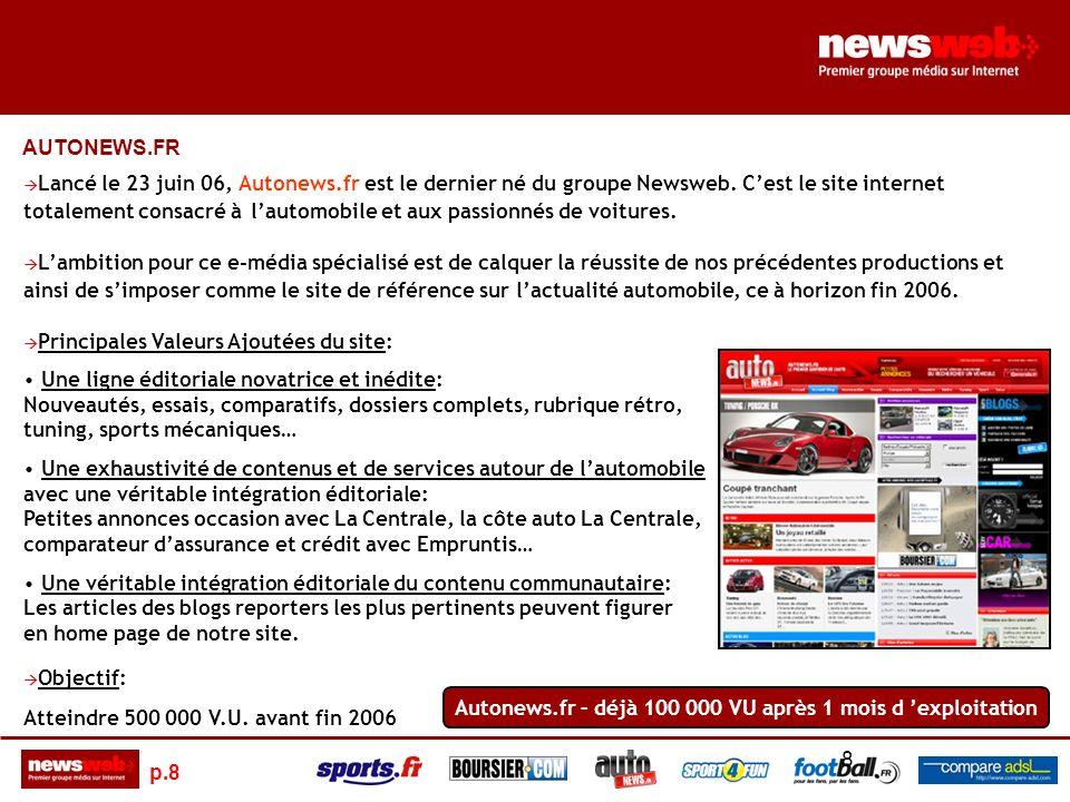 p.8 8 Lancé le 23 juin 06, Autonews.fr est le dernier né du groupe Newsweb.
