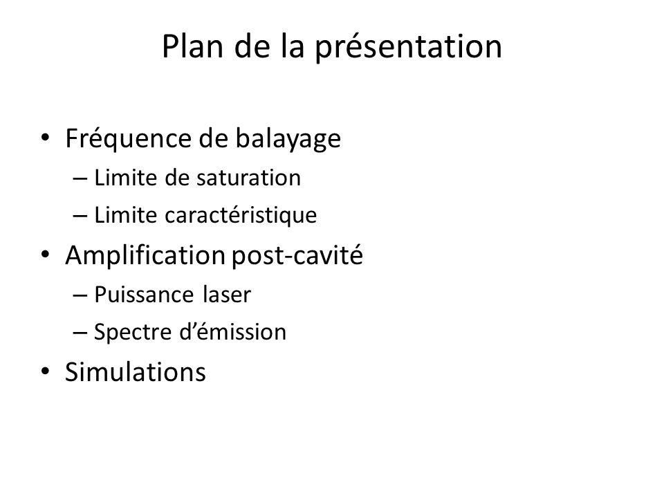 Plan de la présentation Fréquence de balayage – Limite de saturation – Limite caractéristique Amplification post-cavité – Puissance laser – Spectre dé