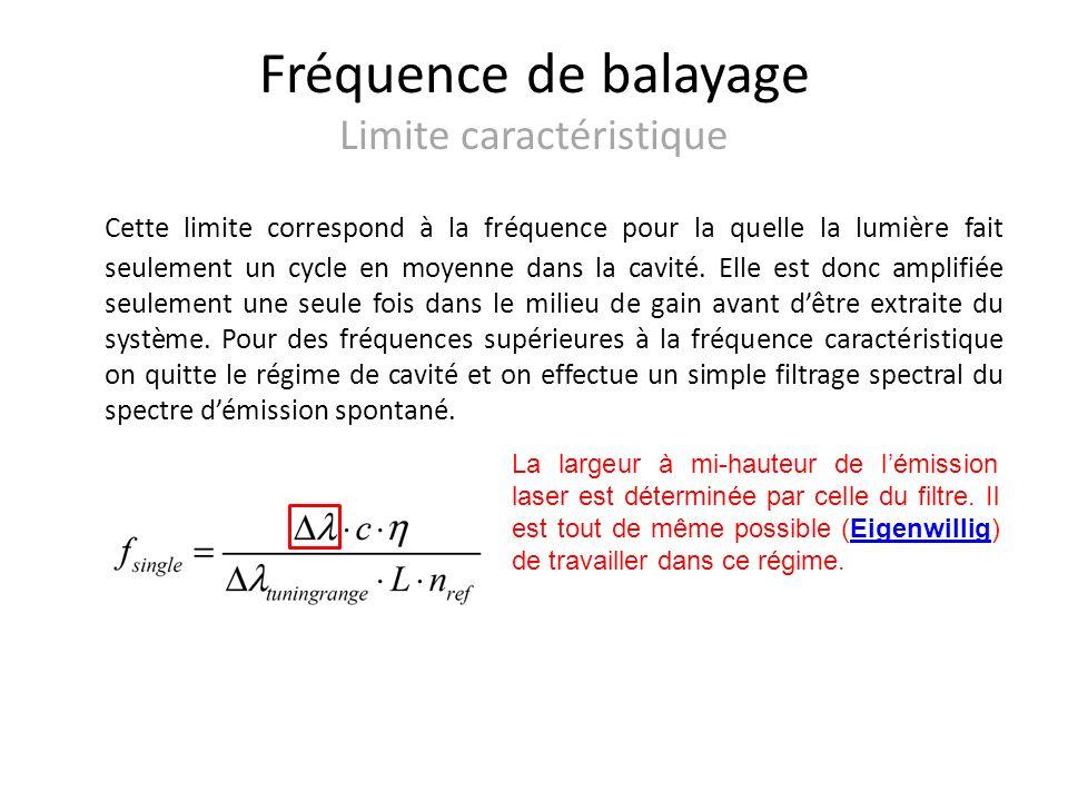 Fréquence de balayage Limite caractéristique Cette limite correspond à la fréquence pour la quelle la lumière fait seulement un cycle en moyenne dans la cavité.