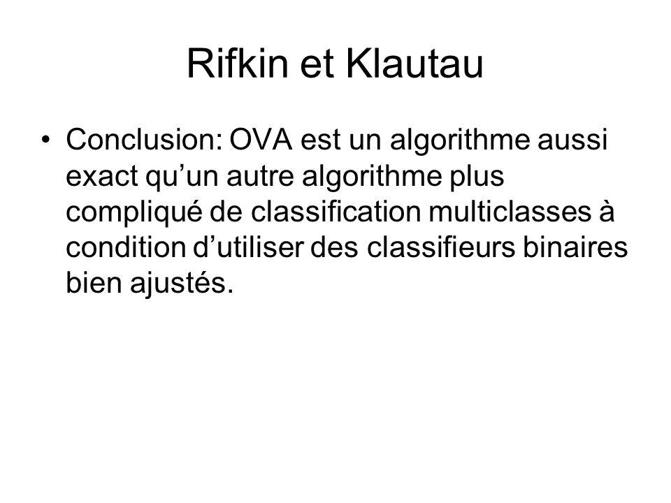 Rifkin et Klautau Conclusion: OVA est un algorithme aussi exact quun autre algorithme plus compliqué de classification multiclasses à condition dutili