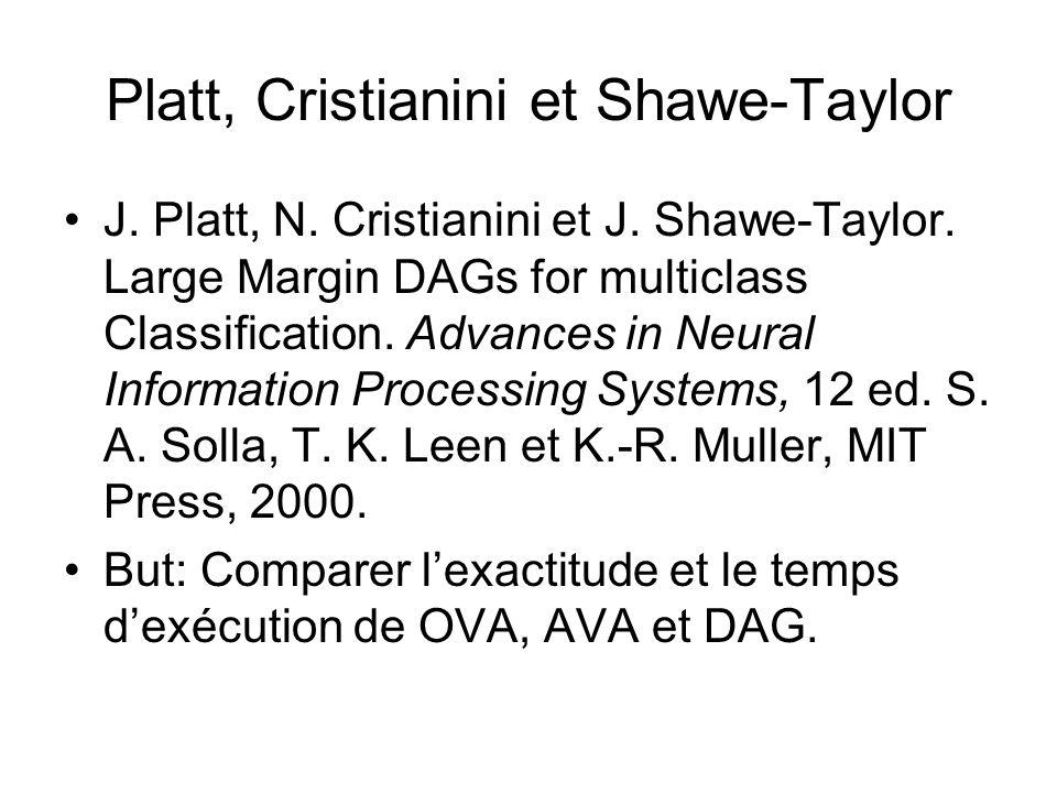 Platt, Cristianini et Shawe-Taylor J. Platt, N. Cristianini et J. Shawe-Taylor. Large Margin DAGs for multiclass Classification. Advances in Neural In