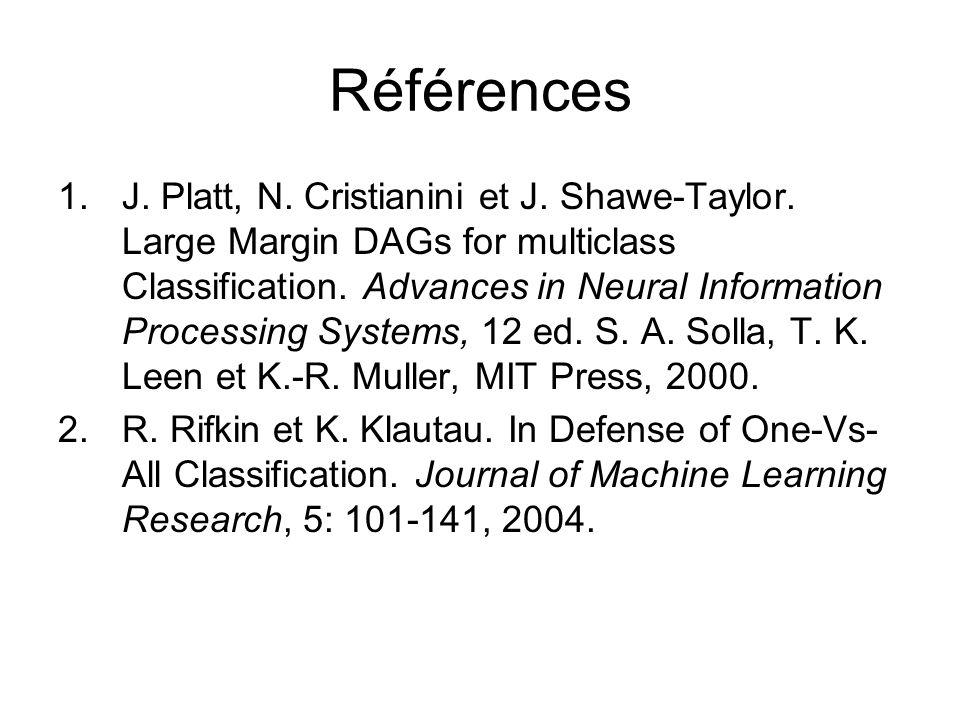 Références 1.J. Platt, N. Cristianini et J. Shawe-Taylor. Large Margin DAGs for multiclass Classification. Advances in Neural Information Processing S
