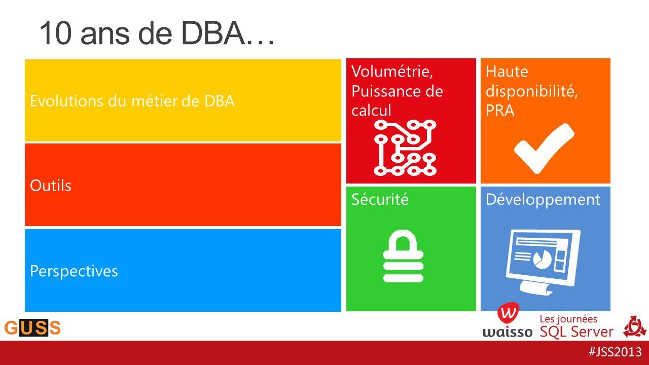 #JSS2013 10 ans de DBA… Evolutions du métier de DBA Outils Perspectives Volumétrie, Puissance de calcul Haute disponibilité, PRA SécuritéDéveloppement