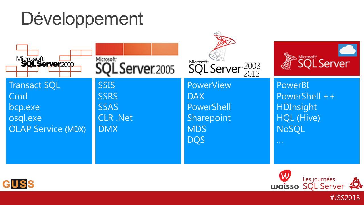 #JSS2013 Développement Transact SQL Cmd bcp.exe osql.exe OLAP Service (MDX) SSIS SSRS SSAS CLR.Net DMX PowerView DAX PowerShell Sharepoint MDS DQS Pow