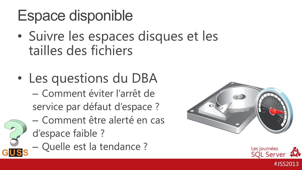 #JSS2013 Suivre les espaces disques et les tailles des fichiers Les questions du DBA – Comment éviter larrêt de service par défaut despace ? – Comment