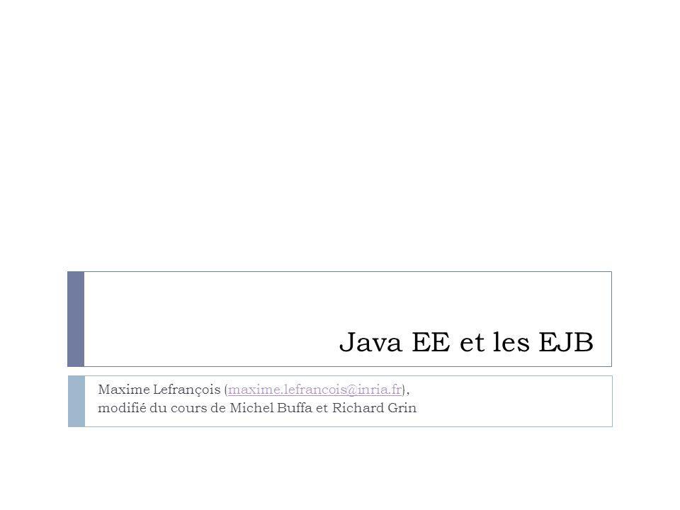 Java EE et les EJB Maxime Lefrançois (maxime.lefrancois@inria.fr),maxime.lefrancois@inria.fr modifié du cours de Michel Buffa et Richard Grin
