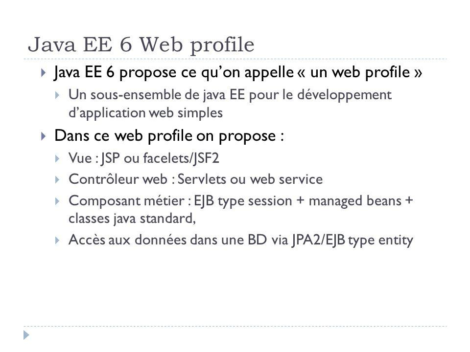 Java EE 6 Web profile Java EE 6 propose ce quon appelle « un web profile » Un sous-ensemble de java EE pour le développement dapplication web simples Dans ce web profile on propose : Vue : JSP ou facelets/JSF2 Contrôleur web : Servlets ou web service Composant métier : EJB type session + managed beans + classes java standard, Accès aux données dans une BD via JPA2/EJB type entity
