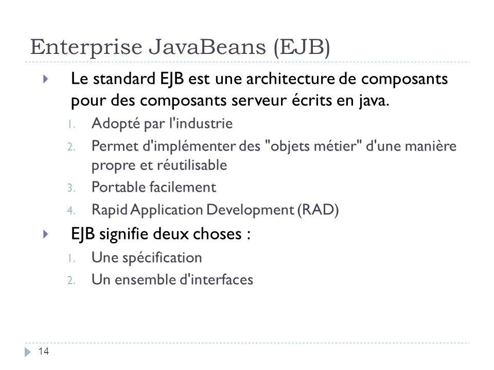 Enterprise JavaBeans (EJB) Le standard EJB est une architecture de composants pour des composants serveur écrits en java. 1. Adopté par l'industrie 2.