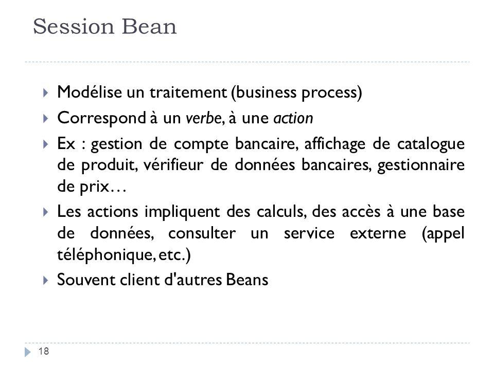 Session Bean Modélise un traitement (business process) Correspond à un verbe, à une action Ex : gestion de compte bancaire, affichage de catalogue de produit, vérifieur de données bancaires, gestionnaire de prix… Les actions impliquent des calculs, des accès à une base de données, consulter un service externe (appel téléphonique, etc.) Souvent client d autres Beans 18