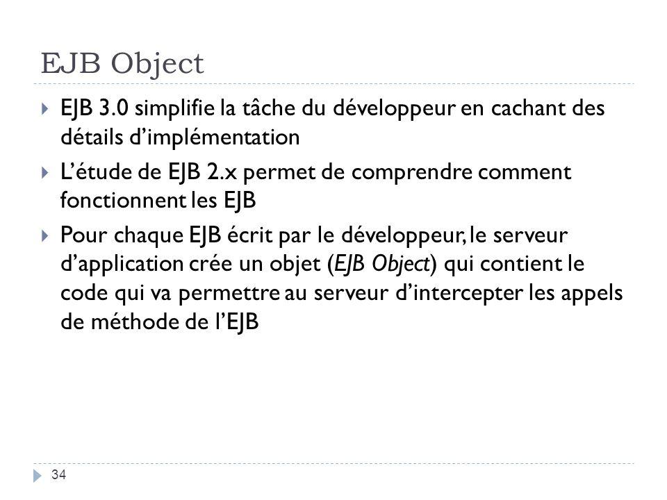 EJB Object EJB 3.0 simplifie la tâche du développeur en cachant des détails dimplémentation Létude de EJB 2.x permet de comprendre comment fonctionnent les EJB Pour chaque EJB écrit par le développeur, le serveur dapplication crée un objet (EJB Object) qui contient le code qui va permettre au serveur dintercepter les appels de méthode de lEJB 34