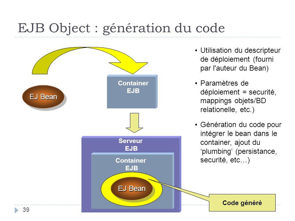 Serveur EJB Container EJB EJ Bean Container EJB Utilisation du descripteur de déploiement (fourni par l auteur du Bean) Paramètres de déploiement = securité, mappings objets/BD relationelle, etc.) Génération du code pour intégrer le bean dans le container, ajout du plumbing (persistance, securité, etc…) Code généré EJB Object : génération du code 39