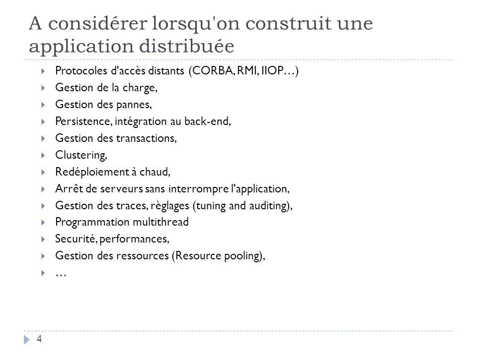 A considérer lorsqu'on construit une application distribuée Protocoles d'accès distants (CORBA, RMI, IIOP…) Gestion de la charge, Gestion des pannes,
