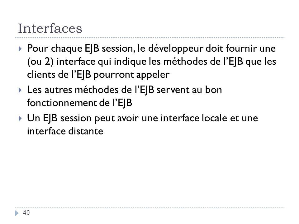 Interfaces Pour chaque EJB session, le développeur doit fournir une (ou 2) interface qui indique les méthodes de lEJB que les clients de lEJB pourront appeler Les autres méthodes de lEJB servent au bon fonctionnement de lEJB Un EJB session peut avoir une interface locale et une interface distante 40