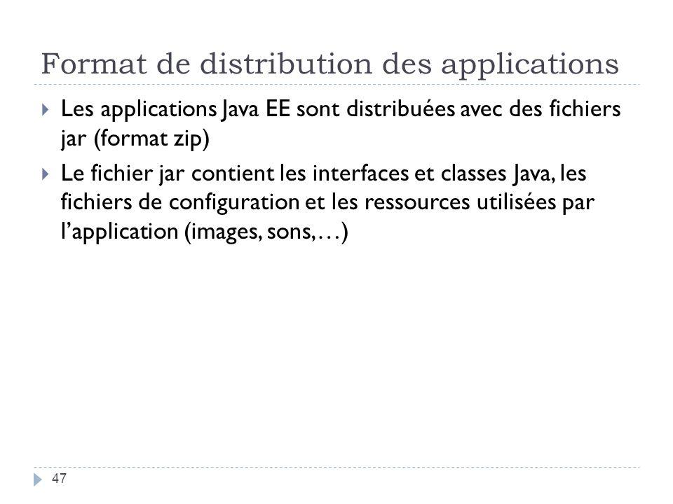 Format de distribution des applications Les applications Java EE sont distribuées avec des fichiers jar (format zip) Le fichier jar contient les interfaces et classes Java, les fichiers de configuration et les ressources utilisées par lapplication (images, sons,…) 47