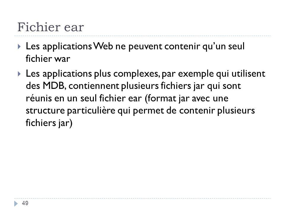 Fichier ear Les applications Web ne peuvent contenir quun seul fichier war Les applications plus complexes, par exemple qui utilisent des MDB, contiennent plusieurs fichiers jar qui sont réunis en un seul fichier ear (format jar avec une structure particulière qui permet de contenir plusieurs fichiers jar) 49