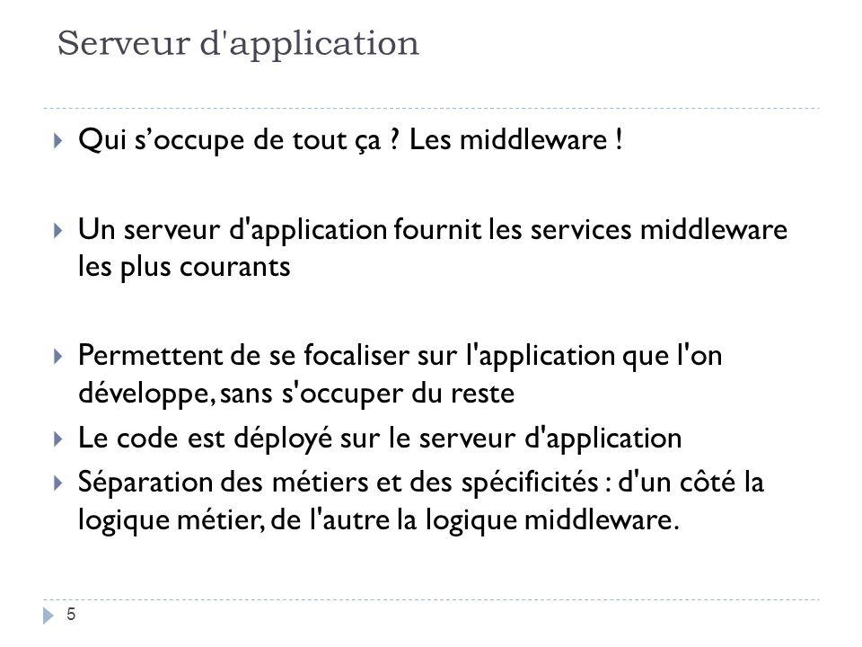 Serveur d'application Qui soccupe de tout ça ? Les middleware ! Un serveur d'application fournit les services middleware les plus courants Permettent