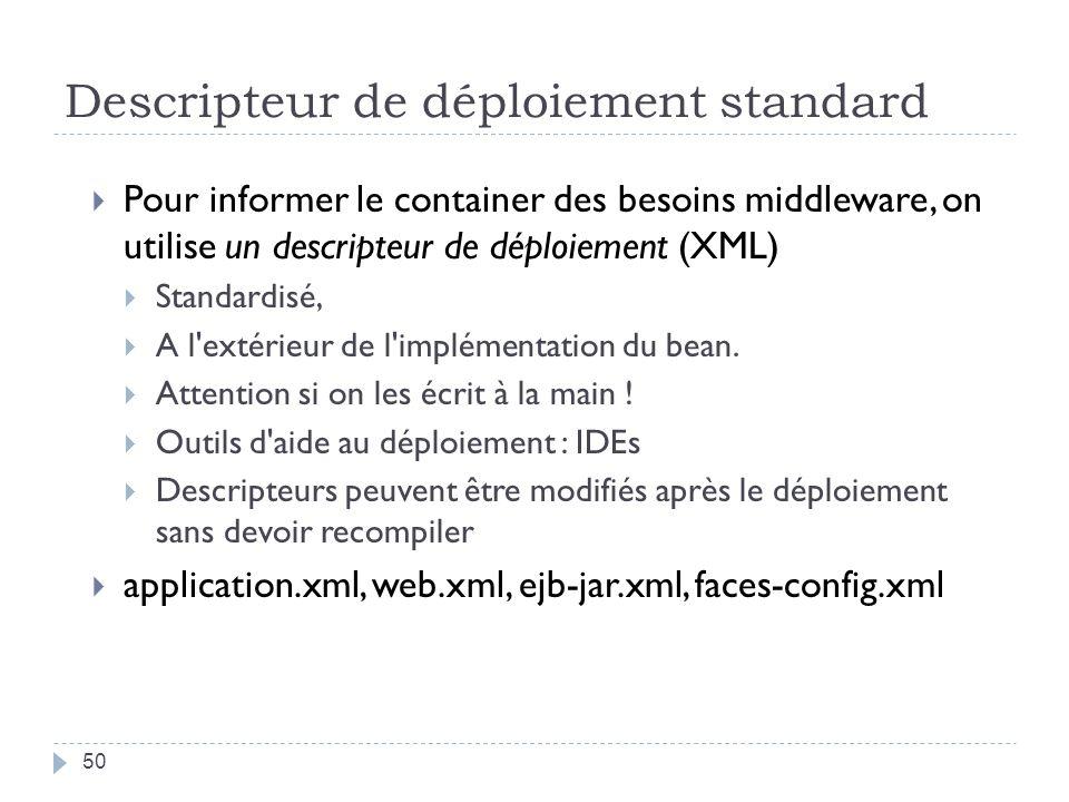 Descripteur de déploiement standard Pour informer le container des besoins middleware, on utilise un descripteur de déploiement (XML) Standardisé, A l extérieur de l implémentation du bean.