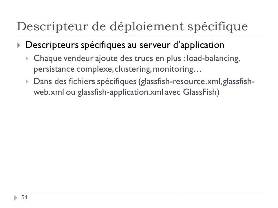 Descripteur de déploiement spécifique Descripteurs spécifiques au serveur d'application Chaque vendeur ajoute des trucs en plus : load-balancing, pers