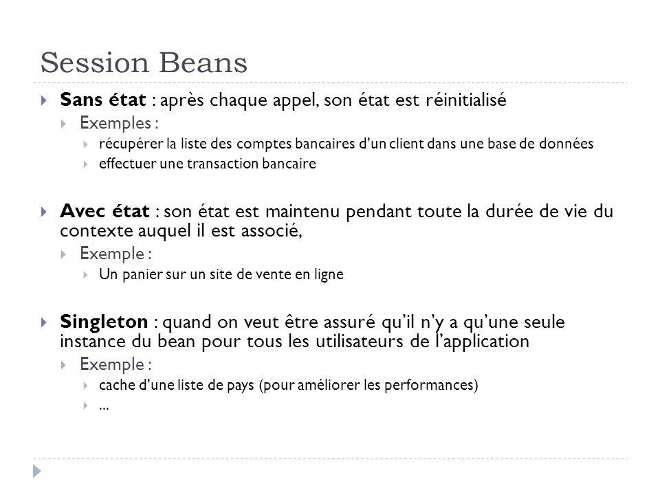 Session Beans Sans état : après chaque appel, son état est réinitialisé Exemples : récupérer la liste des comptes bancaires dun client dans une base d