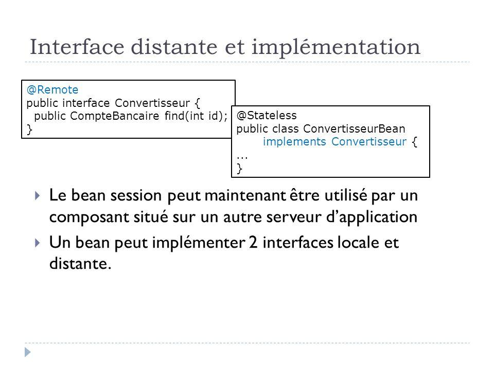 Interface distante et implémentation Le bean session peut maintenant être utilisé par un composant situé sur un autre serveur dapplication Un bean peut implémenter 2 interfaces locale et distante.