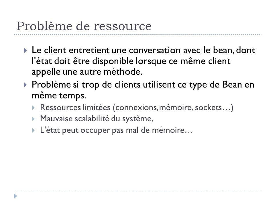 Problème de ressource Le client entretient une conversation avec le bean, dont l'état doit être disponible lorsque ce même client appelle une autre mé