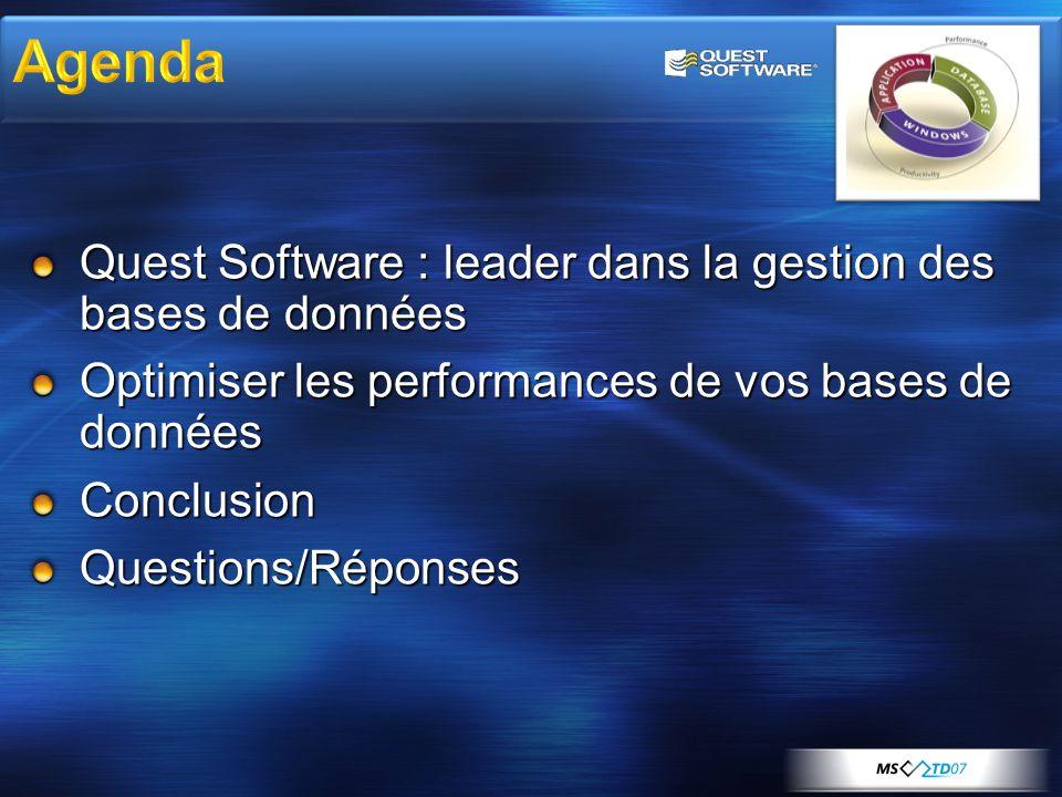 Quest Software : leader dans la gestion des bases de données Optimiser les performances de vos bases de données ConclusionQuestions/Réponses