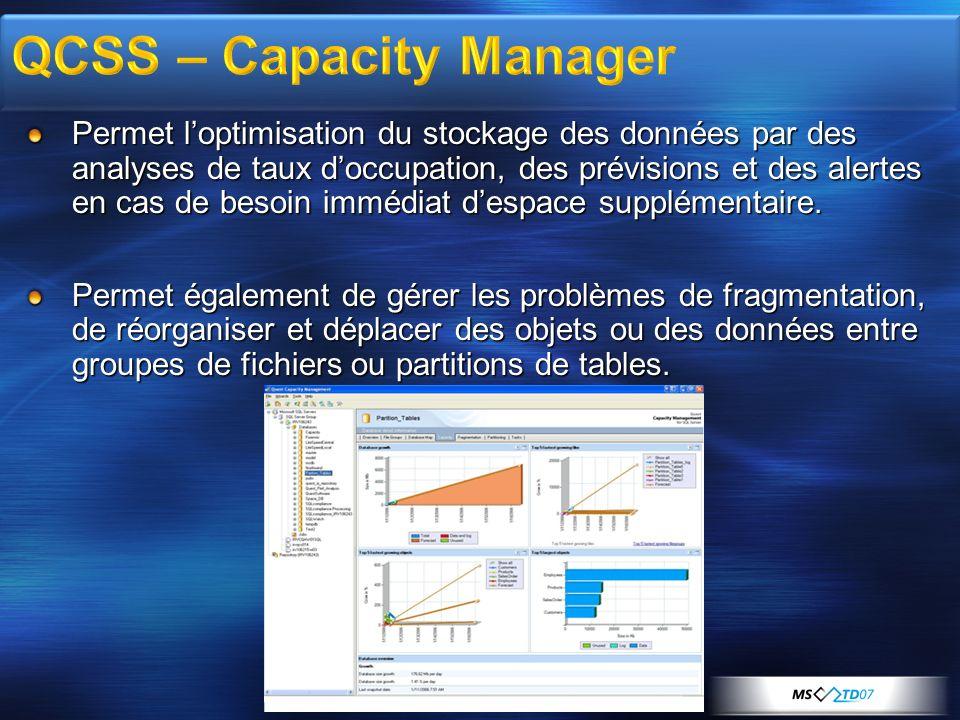 QCSS – Capacity Manager Permet loptimisation du stockage des données par des analyses de taux doccupation, des prévisions et des alertes en cas de bes