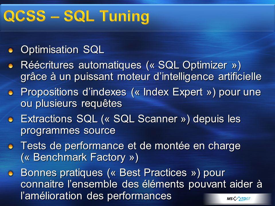 Optimisation SQL Réécritures automatiques (« SQL Optimizer ») grâce à un puissant moteur dintelligence artificielle Propositions dindexes (« Index Exp