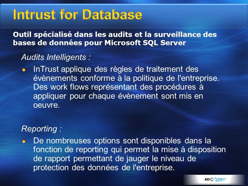 Intrust for Database Audits Intelligents : InTrust applique des règles de traitement des évènements conforme à la politique de l'entreprise. Des work