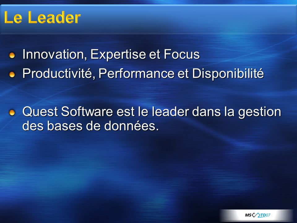 Dans le domaine de la gestion des bases de données, Quest Software propose également des solutions de Test de Charge :............................Benchmark Factory Supervision :..................................Foglight Visiter http://www.quest.com/sql_server_fr/ http://www.quest.com/sql_server_fr/
