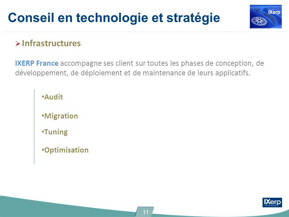 Conseil en technologie et stratégie Infrastructures IXERP France accompagne ses client sur toutes les phases de conception, de développement, de déploiement et de maintenance de leurs applicatifs.