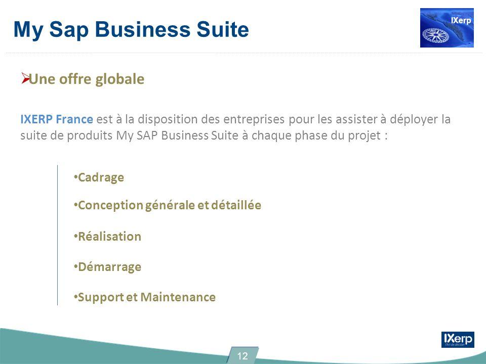 Une offre globale IXERP France est à la disposition des entreprises pour les assister à déployer la suite de produits My SAP Business Suite à chaque phase du projet : Cadrage Conception générale et détaillée Réalisation Démarrage Support et Maintenance My Sap Business Suite IXerp 12