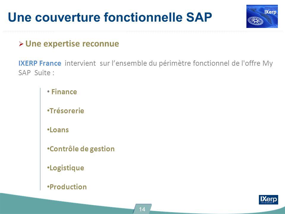 Une couverture fonctionnelle SAP Une expertise reconnue IXERP France intervient sur lensemble du périmètre fonctionnel de l'offre My SAP Suite : Finan