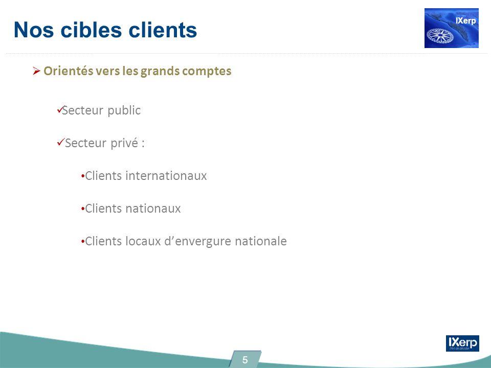 Nos cibles clients Orientés vers les grands comptes Secteur public Secteur privé : Clients internationaux Clients nationaux Clients locaux denvergure
