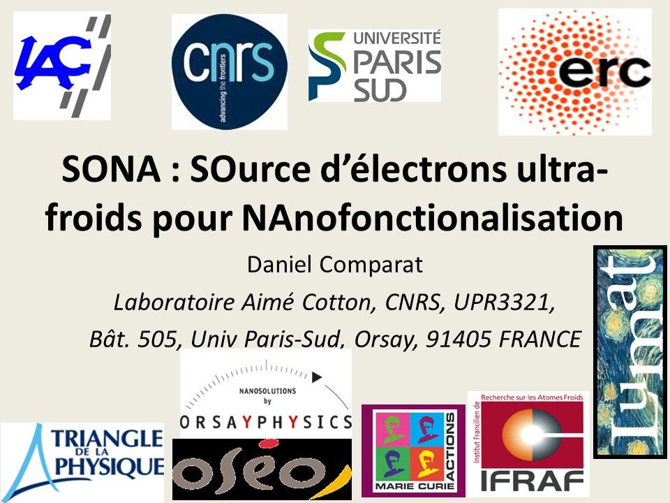 SONA : SOurce délectrons ultra- froids pour NAnofonctionalisation Daniel Comparat Laboratoire Aimé Cotton, CNRS, UPR3321, Bât. 505, Univ Paris-Sud, Or