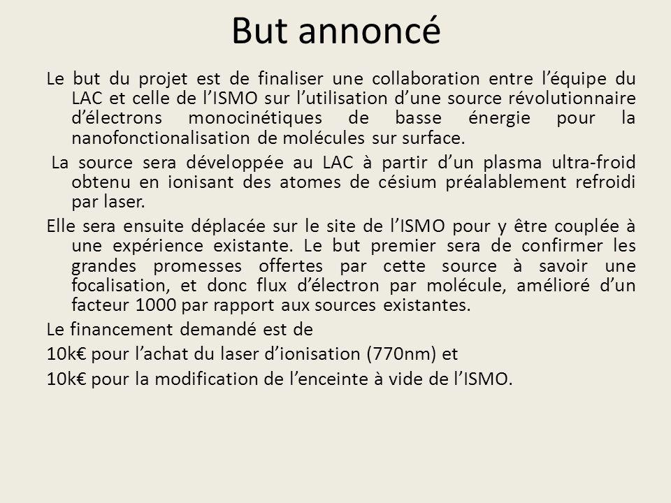 But annoncé Le but du projet est de finaliser une collaboration entre léquipe du LAC et celle de lISMO sur lutilisation dune source révolutionnaire dé